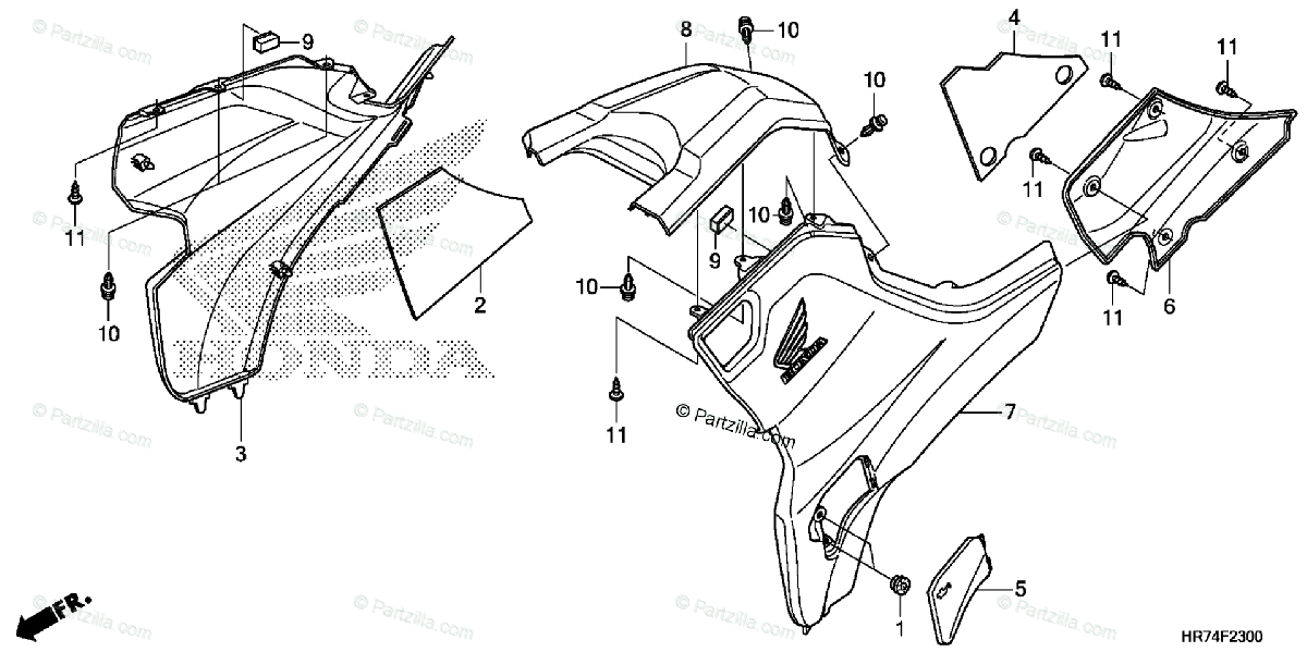Honda ATV 2016 OEM Parts Diagram for Side Cover / Tank