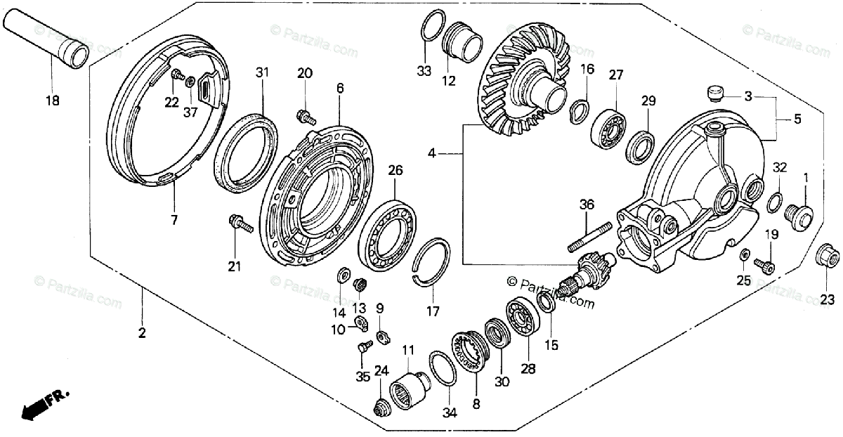 Honda Motorcycle 1989 OEM Parts Diagram for Final Driven