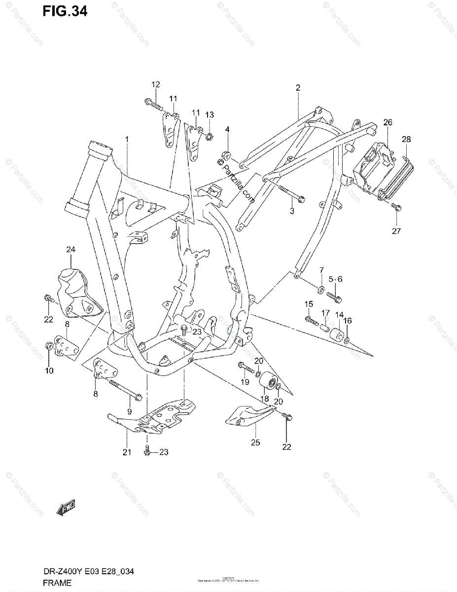Suzuki Motorcycle 2000 OEM Parts Diagram for Frame