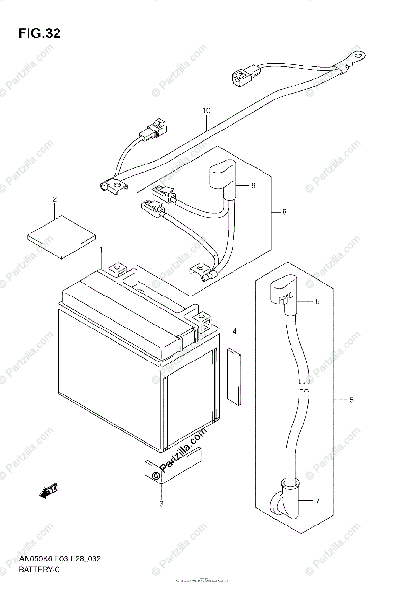 Suzuki Scooters 2006 OEM Parts Diagram for BATTERY