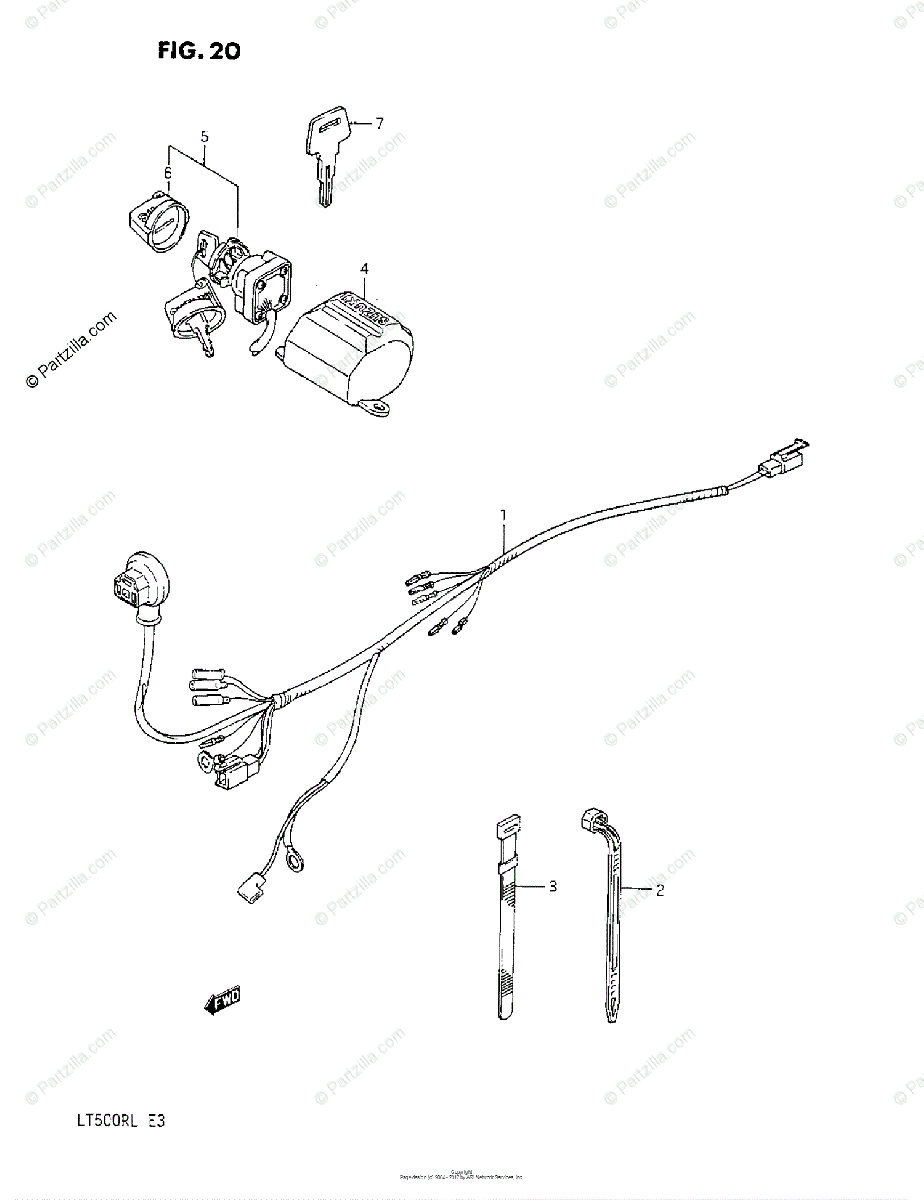 Suzuki ATV 1987 OEM Parts Diagram for Wiring Harness