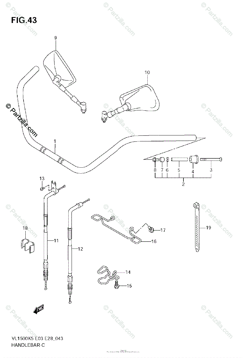 Suzuki Motorcycle 2005 OEM Parts Diagram for Handlebar