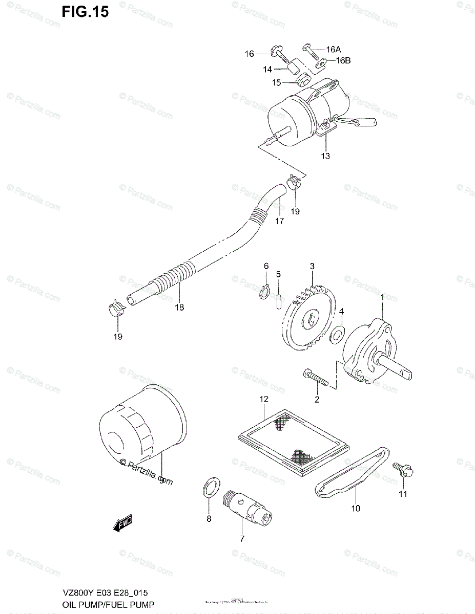 Suzuki Motorcycle 2002 OEM Parts Diagram for Oil Pump
