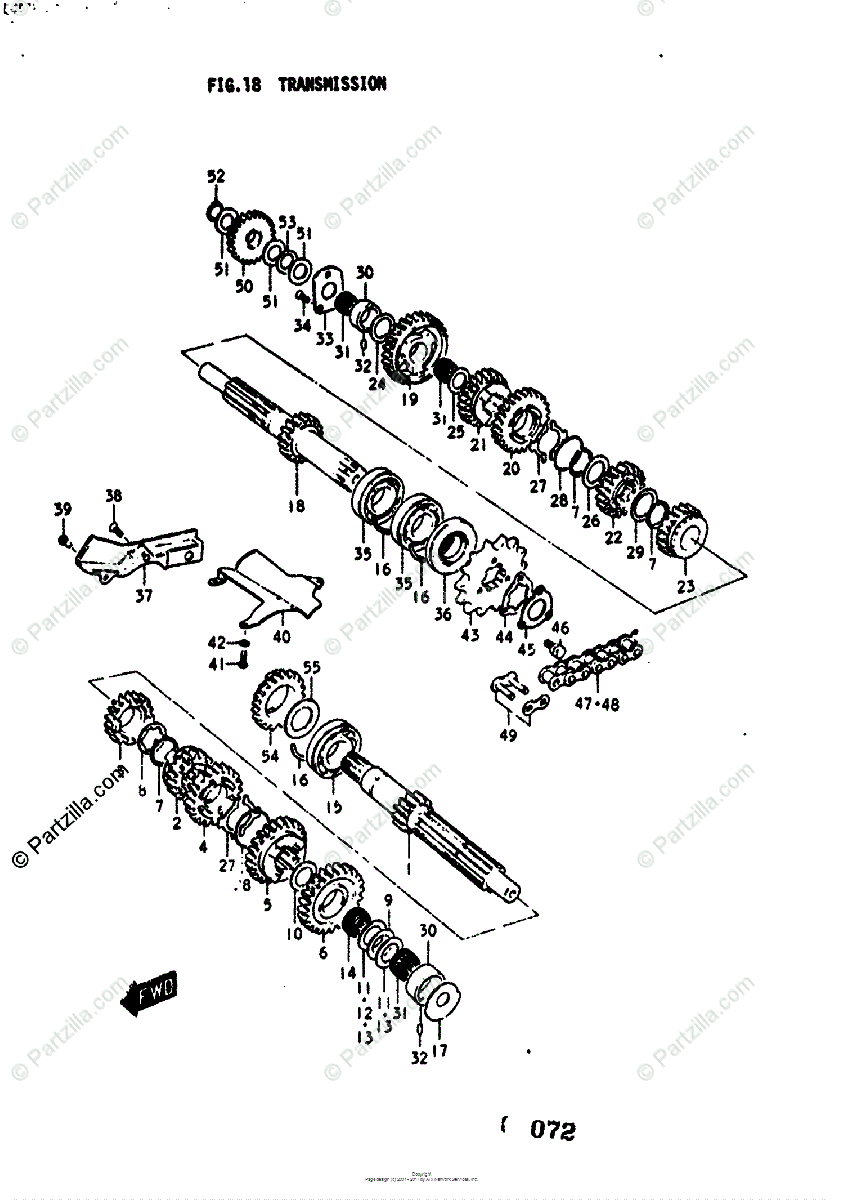 Suzuki Motorcycle 1976 OEM Parts Diagram for Transmission