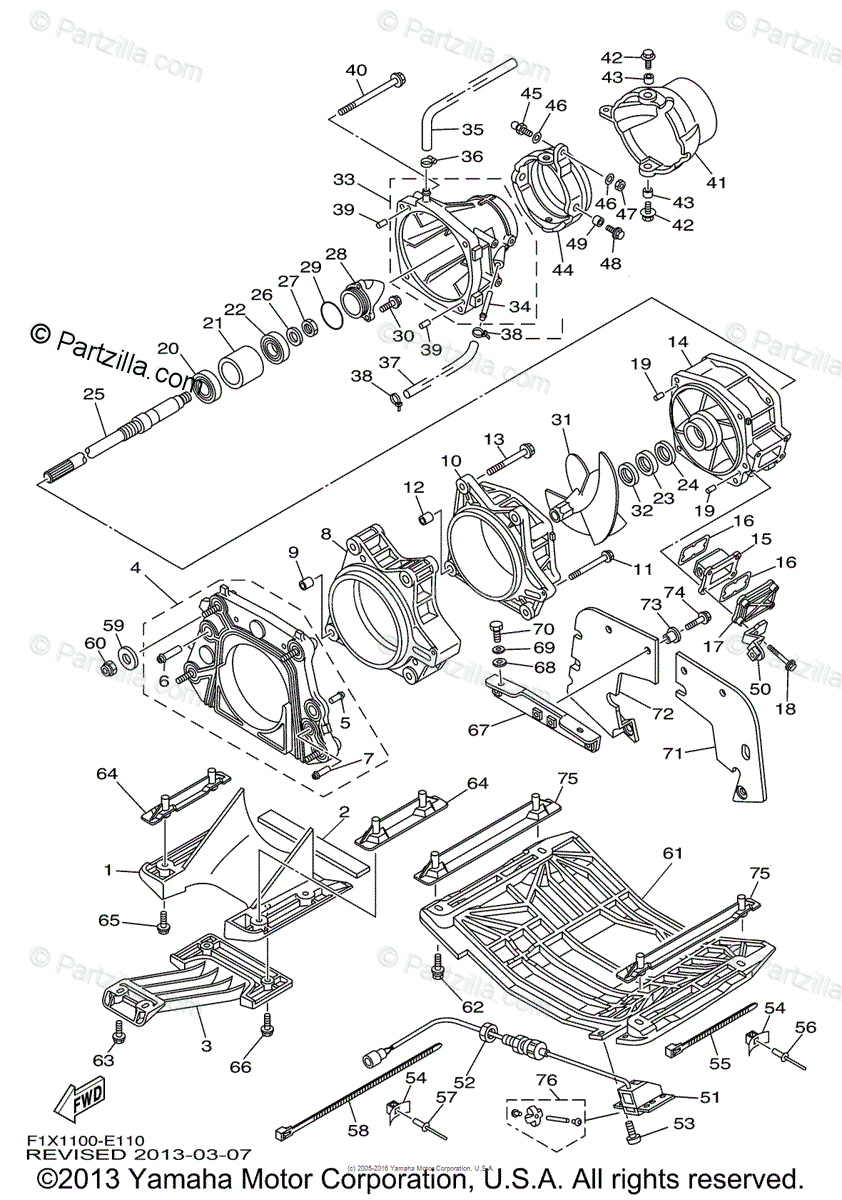 Yamaha Waverunner 2006 OEM Parts Diagram for Jet Unit 1