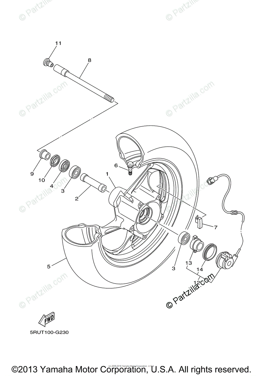 Yamaha Scooter 2008 OEM Parts Diagram for Front Wheel