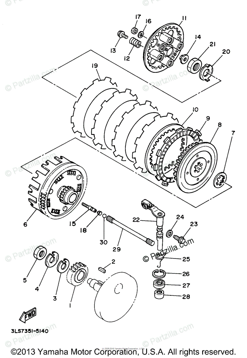 Yamaha Motorcycle 1998 OEM Parts Diagram for Clutch