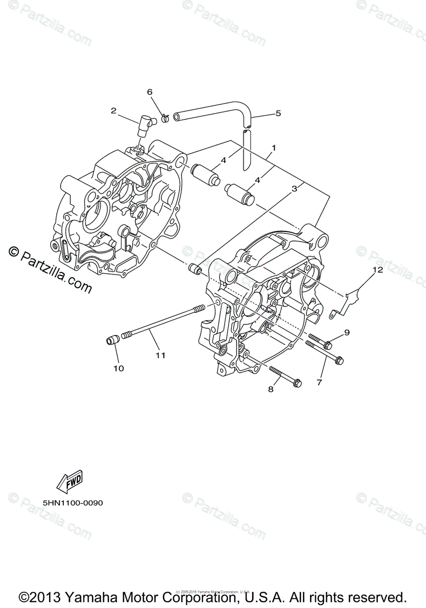 Yamaha Motorcycle 2001 OEM Parts Diagram for Crankcase