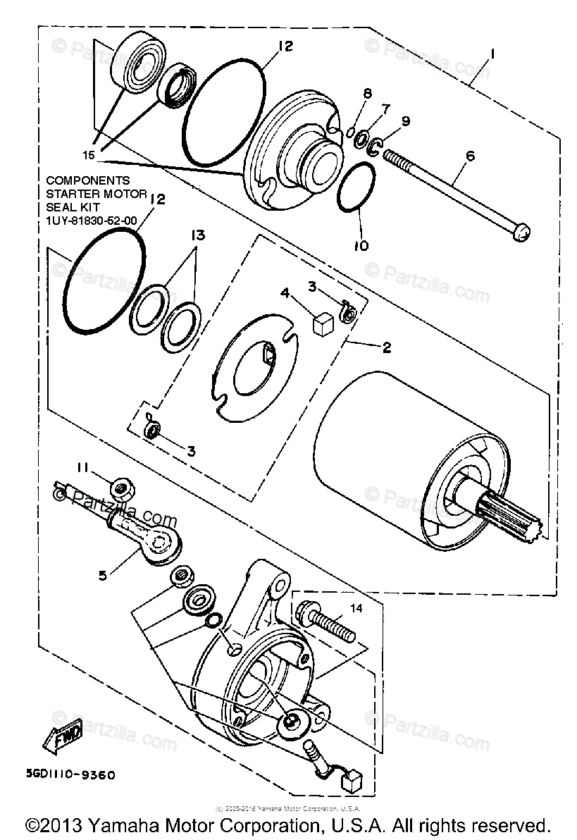 Yamaha ATV 1989 OEM Parts Diagram for Starting Motor