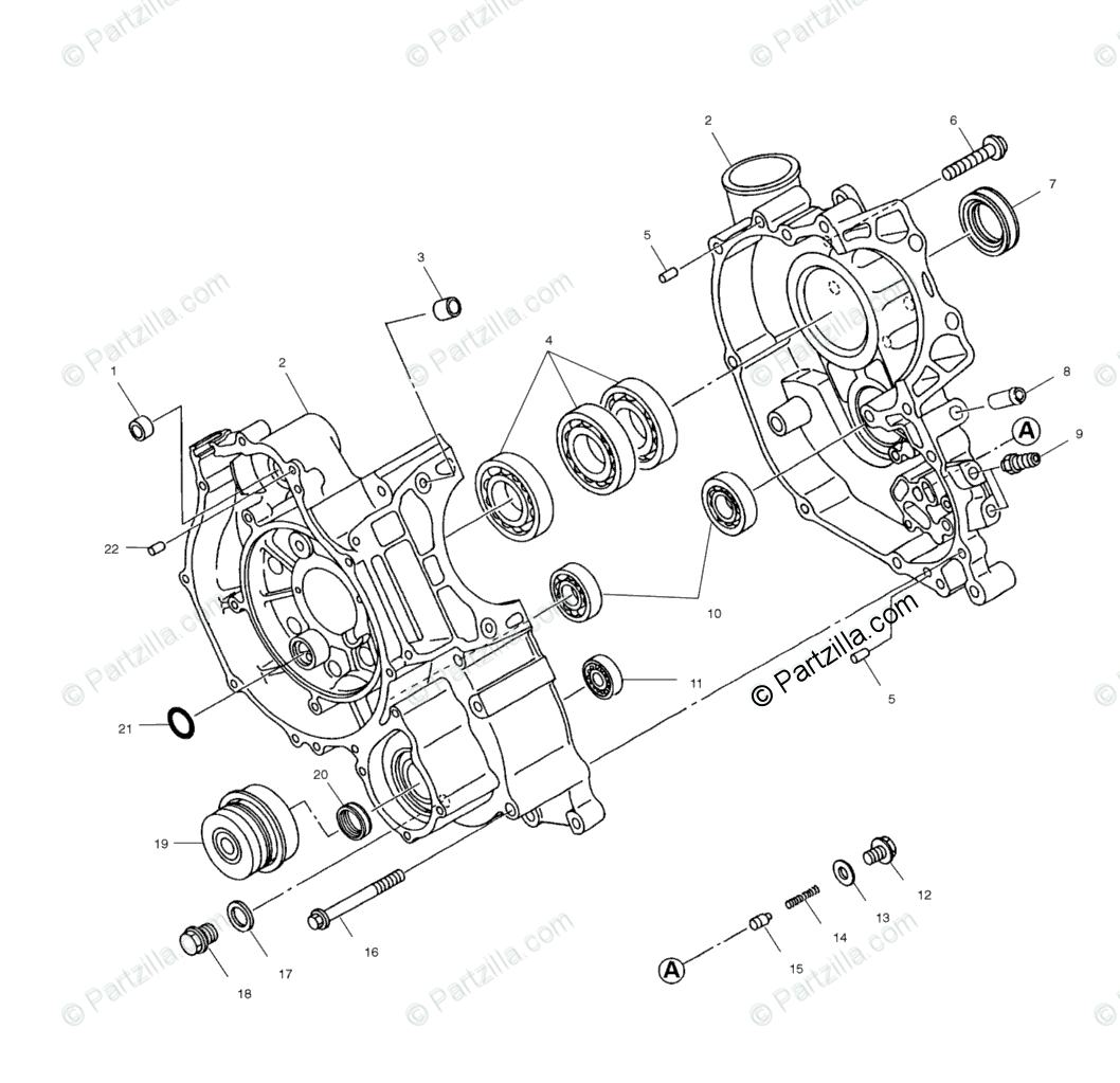 Polaris ATV 2000 OEM Parts Diagram for Crankcase A00cd50fb