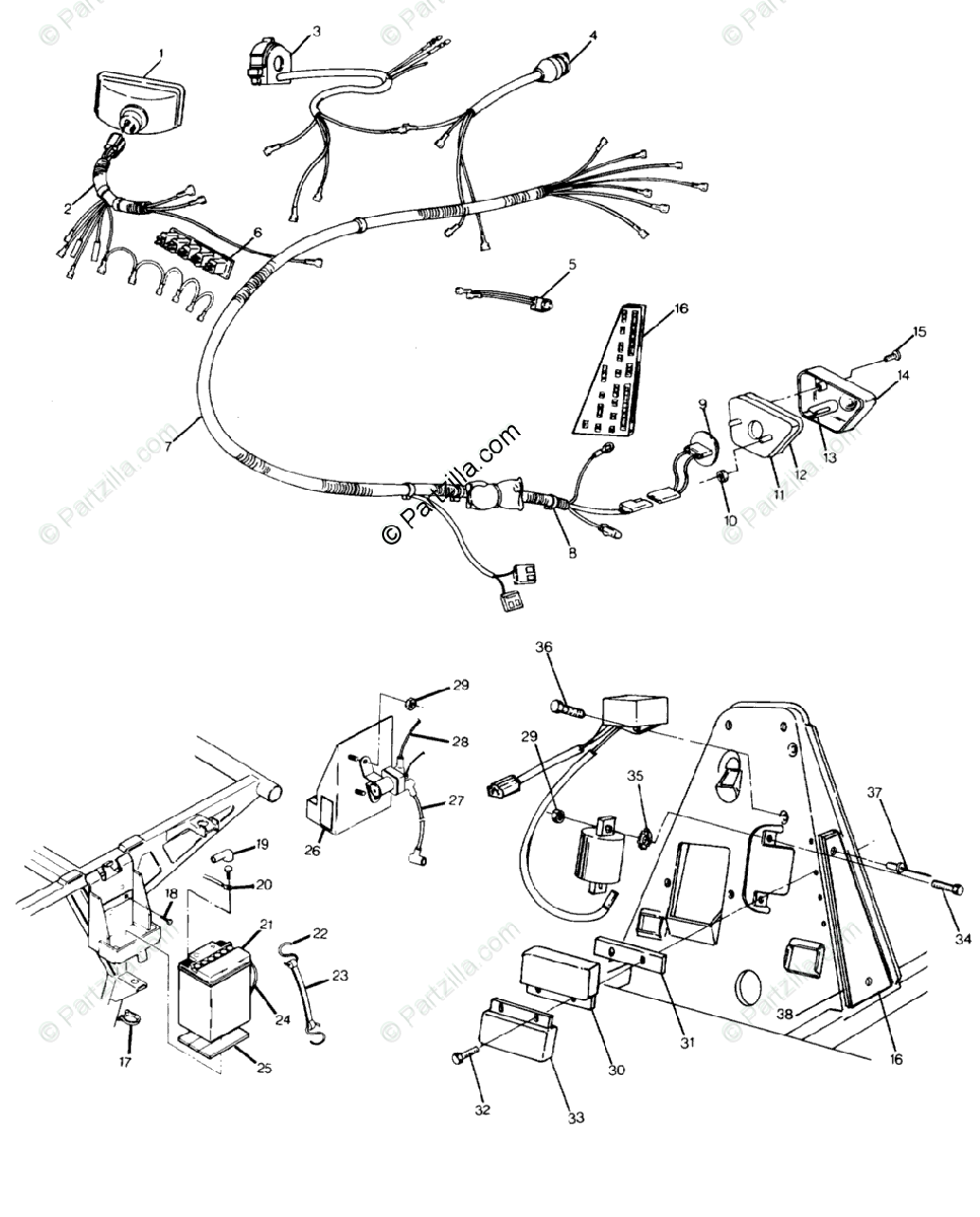 Polaris ATV 1990 OEM Parts Diagram for Wiring Harness