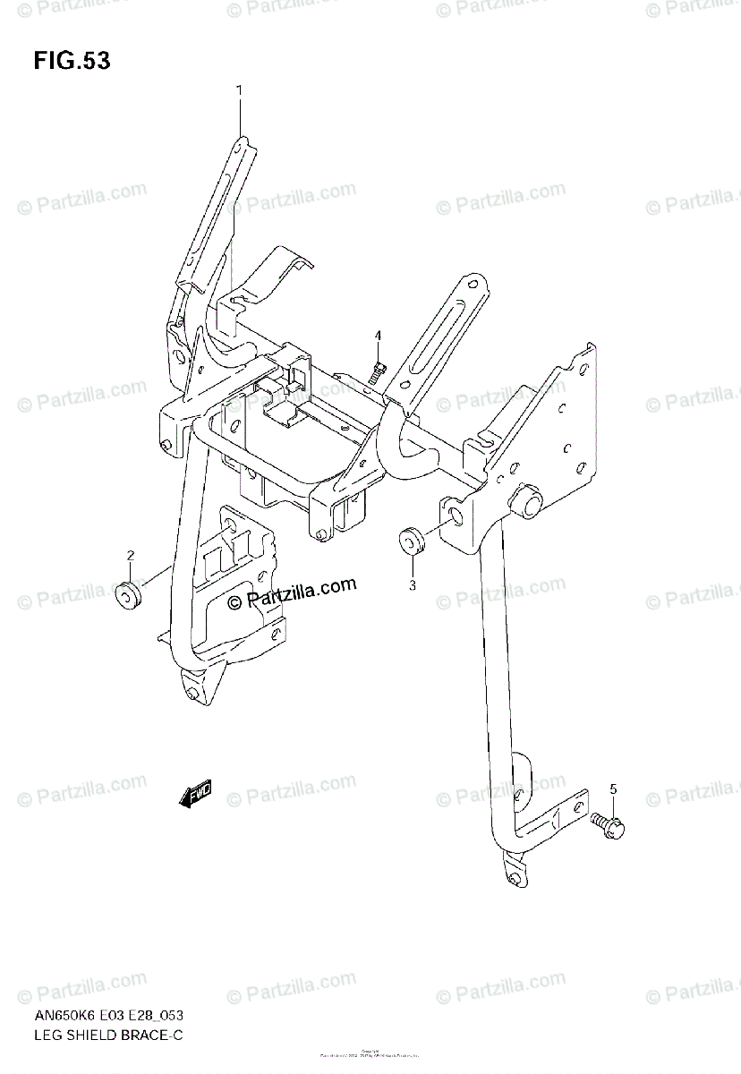 Suzuki Scooter 2009 OEM Parts Diagram for Leg Shield Brace