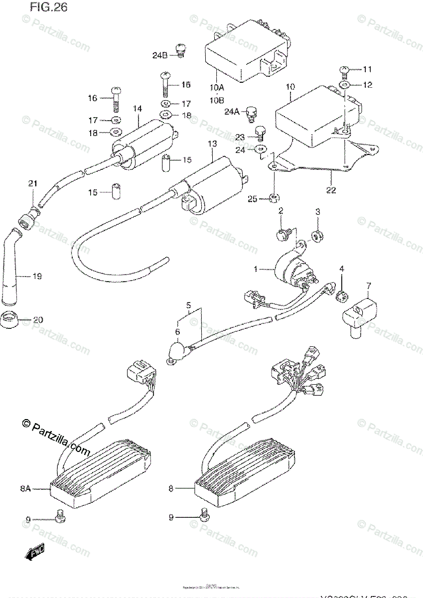 Suzuki Motorcycle 1994 OEM Parts Diagram for Electrical