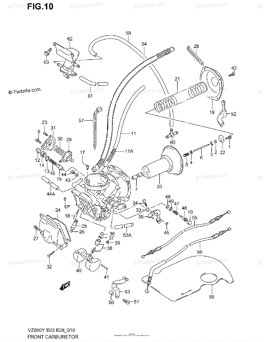 Suzuki Motorcycle 1997 OEM Parts Diagram for FRONT