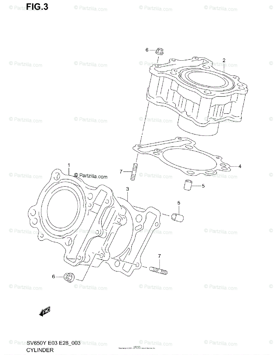 Suzuki Motorcycle 2001 OEM Parts Diagram for Cylinder