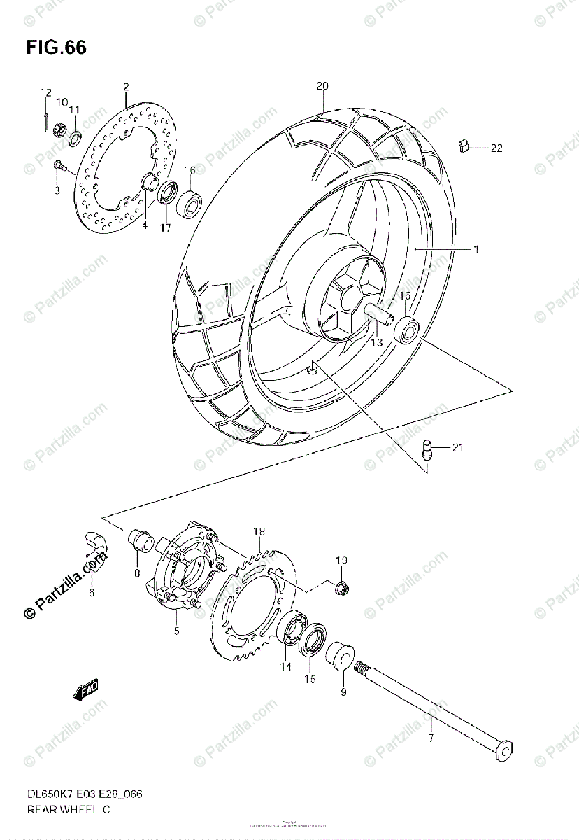 Suzuki Motorcycle 2007 OEM Parts Diagram for REAR WHEEL