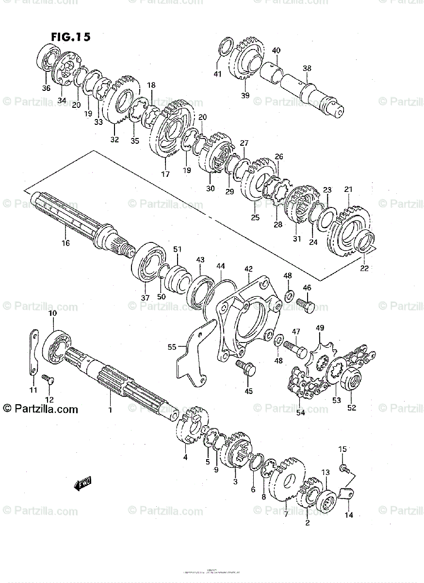 Suzuki ATV 1995 OEM Parts Diagram for Transmission