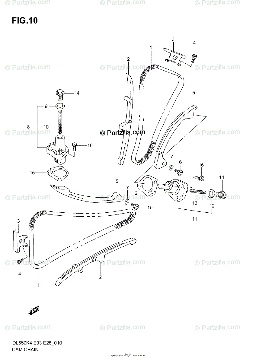 Suzuki Motorcycle 2005 OEM Parts Diagram for Cam Chain