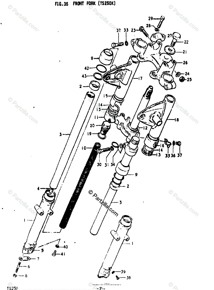 Suzuki Motorcycle 1973 OEM Parts Diagram for FRONT FORK