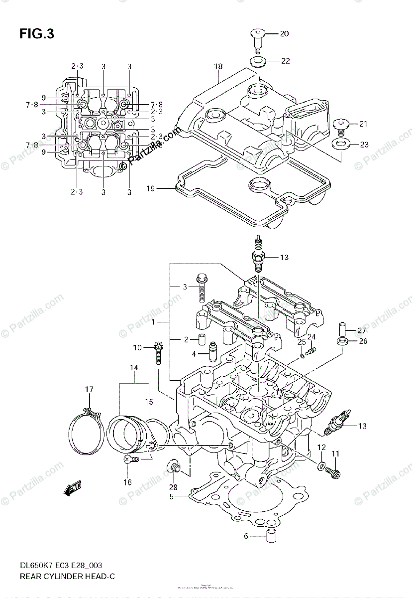 Suzuki Motorcycle 2008 OEM Parts Diagram for Rear Cylinder