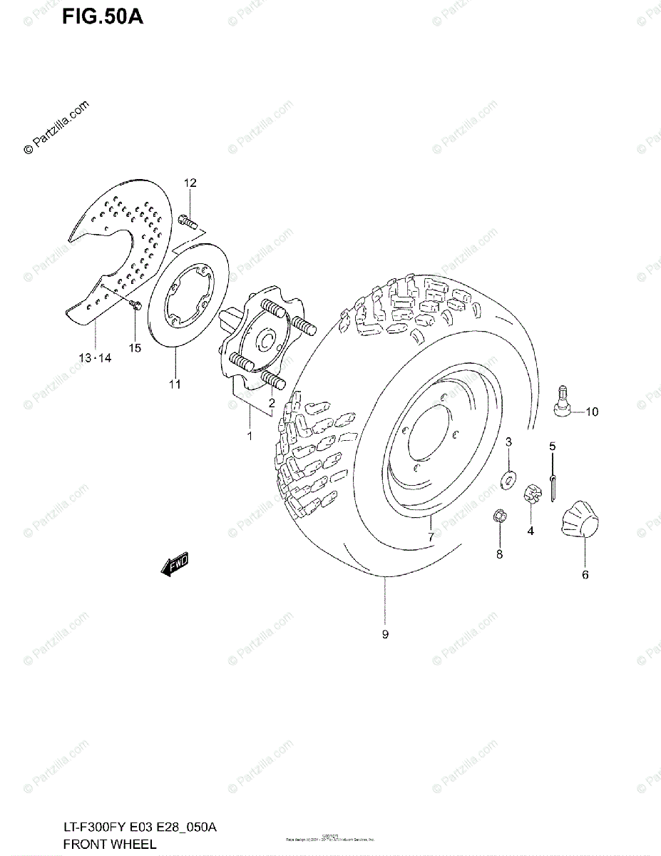 Suzuki ATV 2002 OEM Parts Diagram for FRONT WHEEL (MODEL