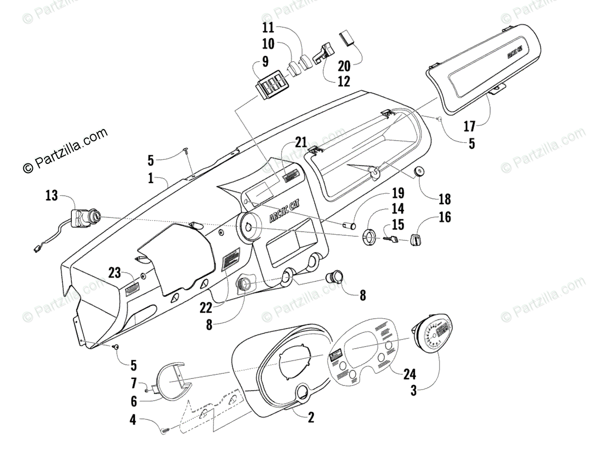 Arctic Cat Side by Side 2009 OEM Parts Diagram for Dash