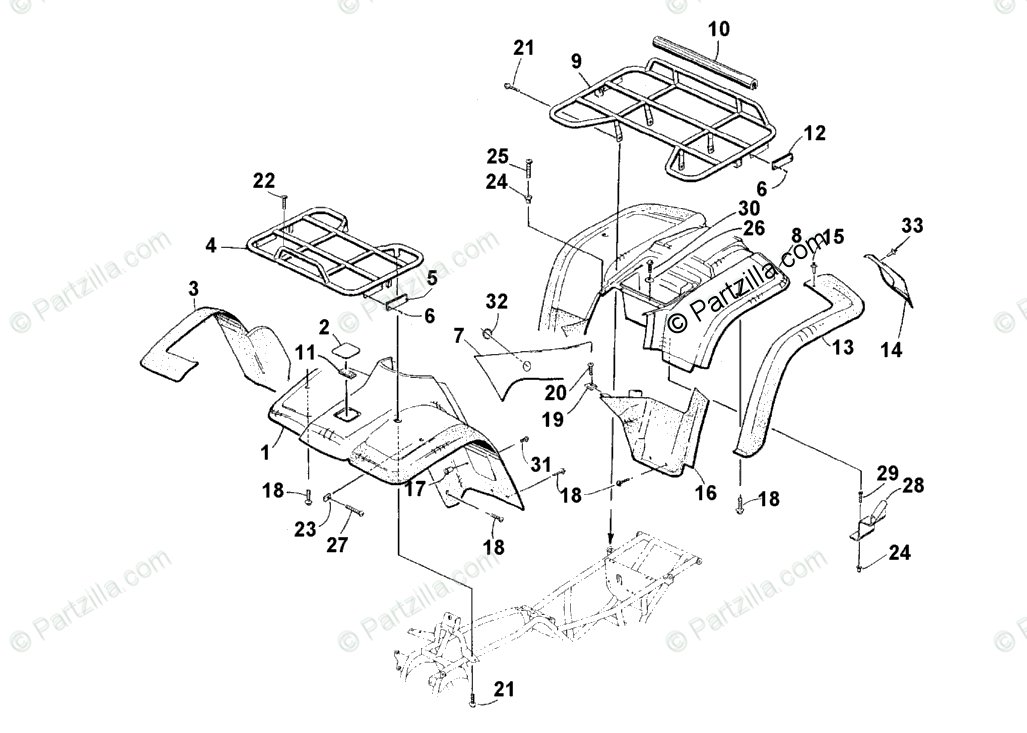 Arctic Cat ATV 2001 OEM Parts Diagram for Body Panel