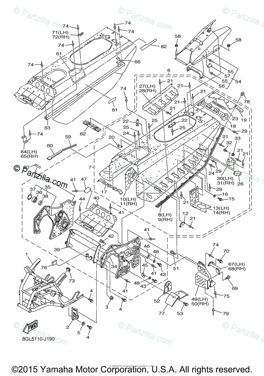 Yamaha Snowmobile 2010 OEM Parts Diagram for Frame