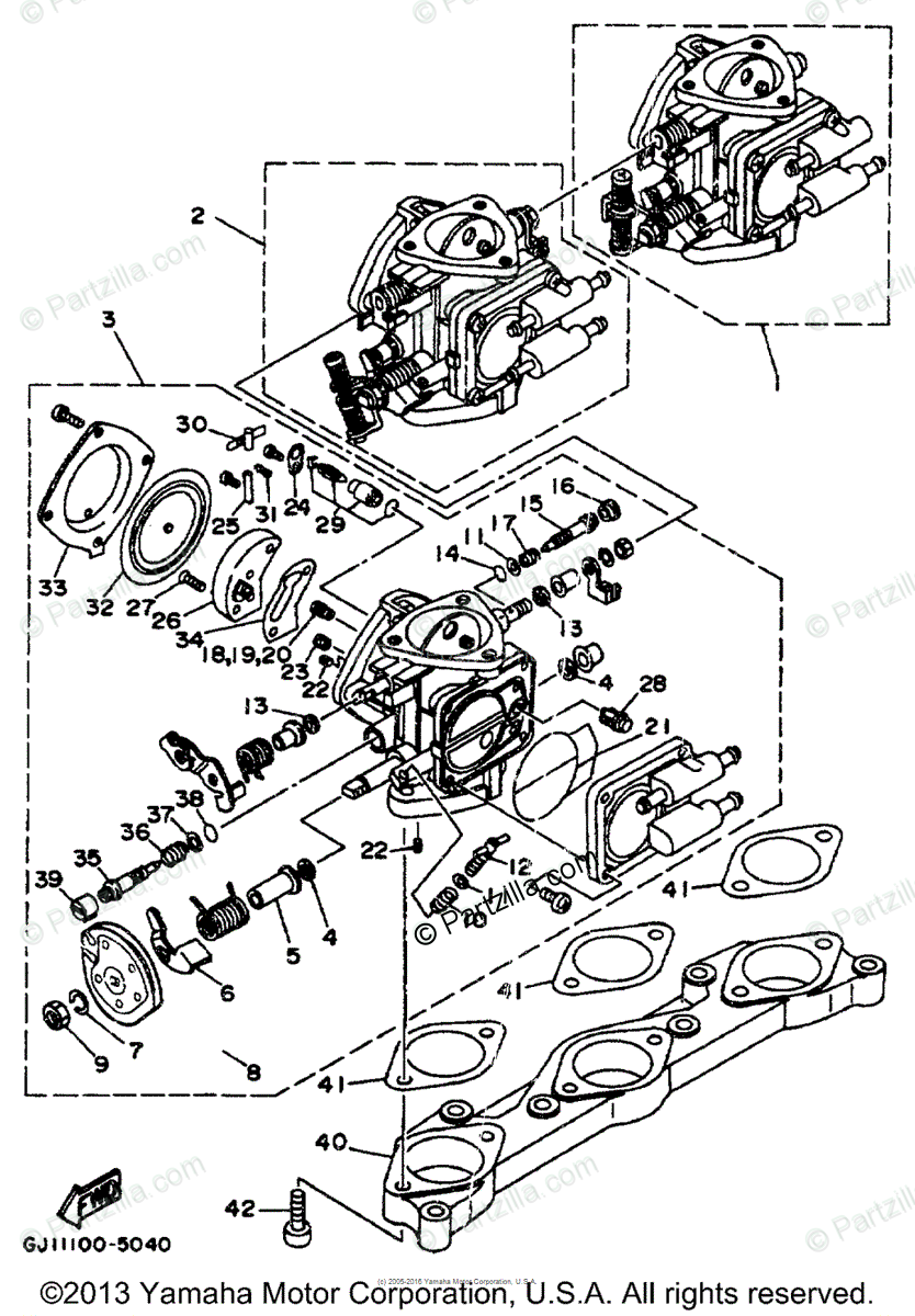Yamaha Boat 1996 OEM Parts Diagram for Carburetor