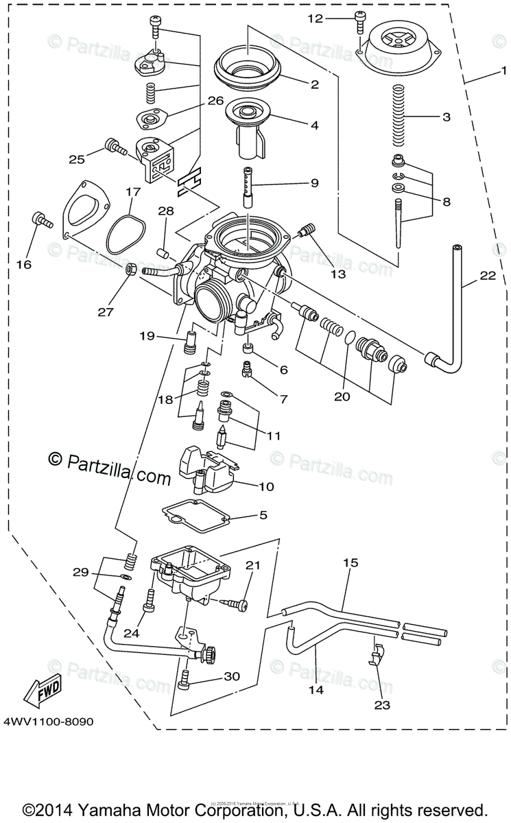 Yamaha ATV 1999 OEM Parts Diagram for Carburetor
