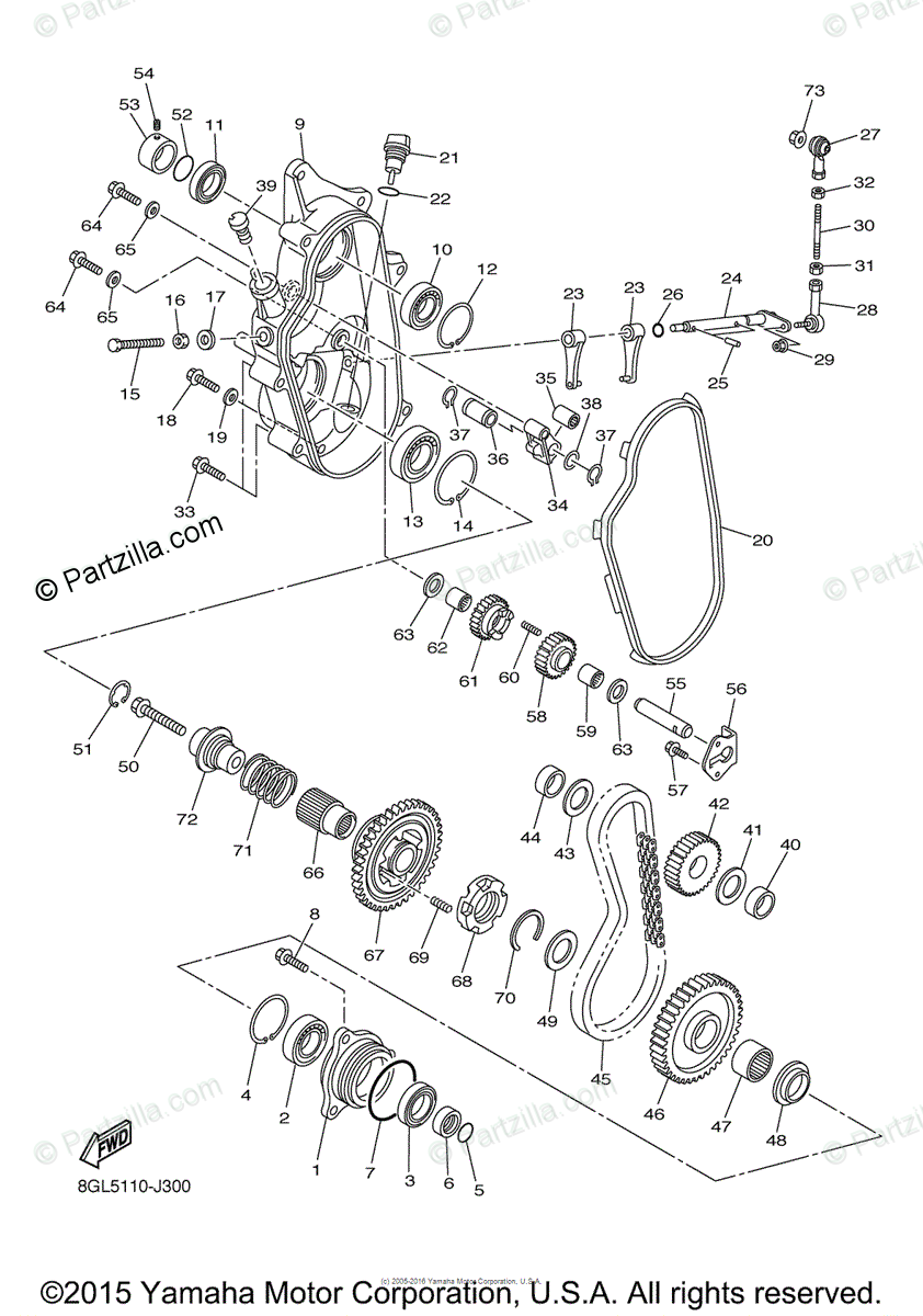 Yamaha Snowmobile 2010 OEM Parts Diagram for Track Drive 2