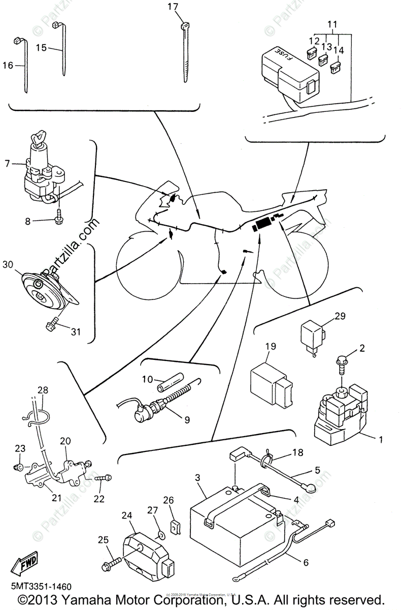 diagram of yamaha motorcycle parts 2001 r6 yzfr6n electrical 2