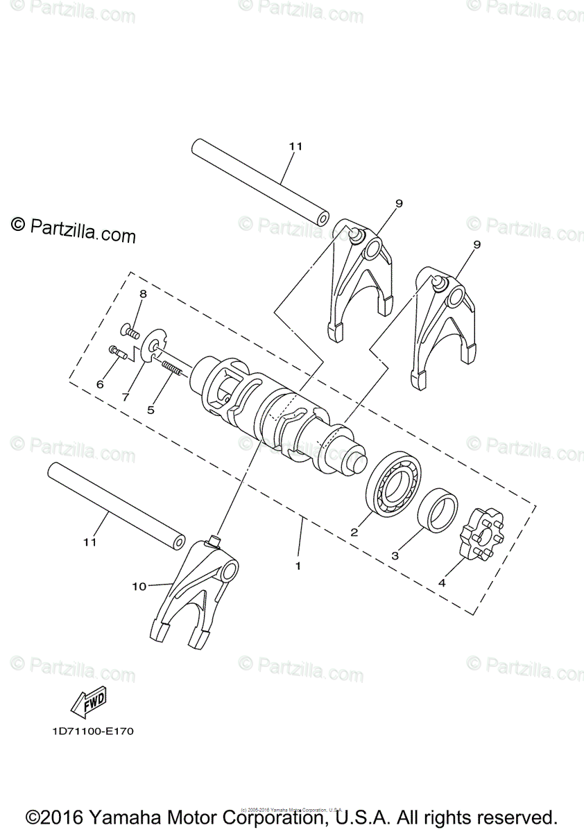 Yamaha Motorcycle 2009 OEM Parts Diagram for Shift Cam