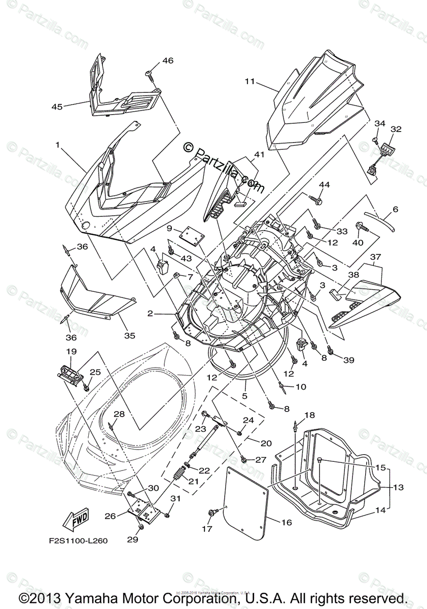 Yamaha Waverunner 2014 OEM Parts Diagram for Engine Hatch