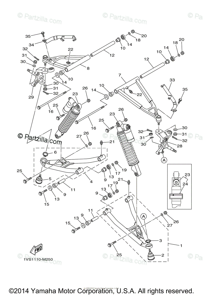 Yamaha ATV 2013 OEM Parts Diagram for Front Suspension