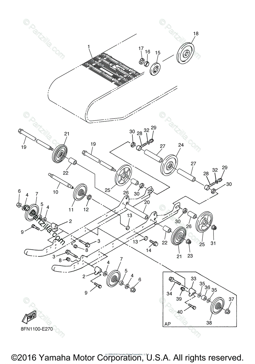 Yamaha Snowmobile 2007 OEM Parts Diagram for Track
