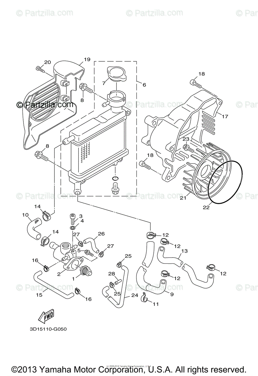 Yamaha Scooter 2009 OEM Parts Diagram for Radiator Hose