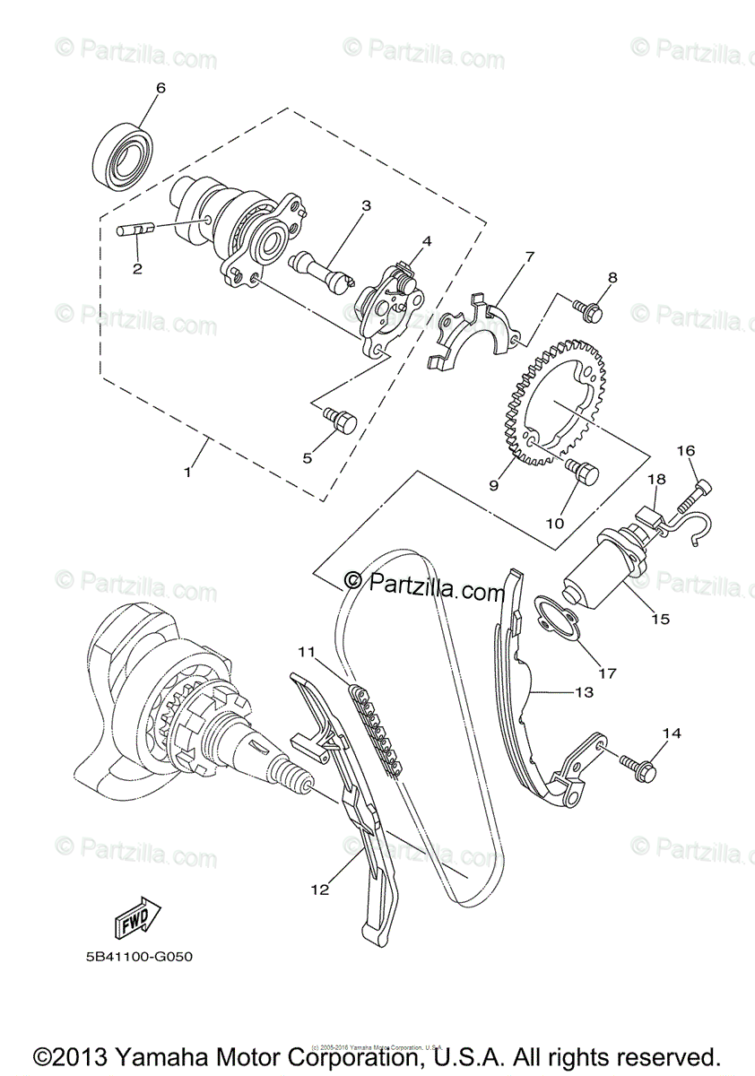 Yamaha Side by Side 2008 OEM Parts Diagram for Camshaft