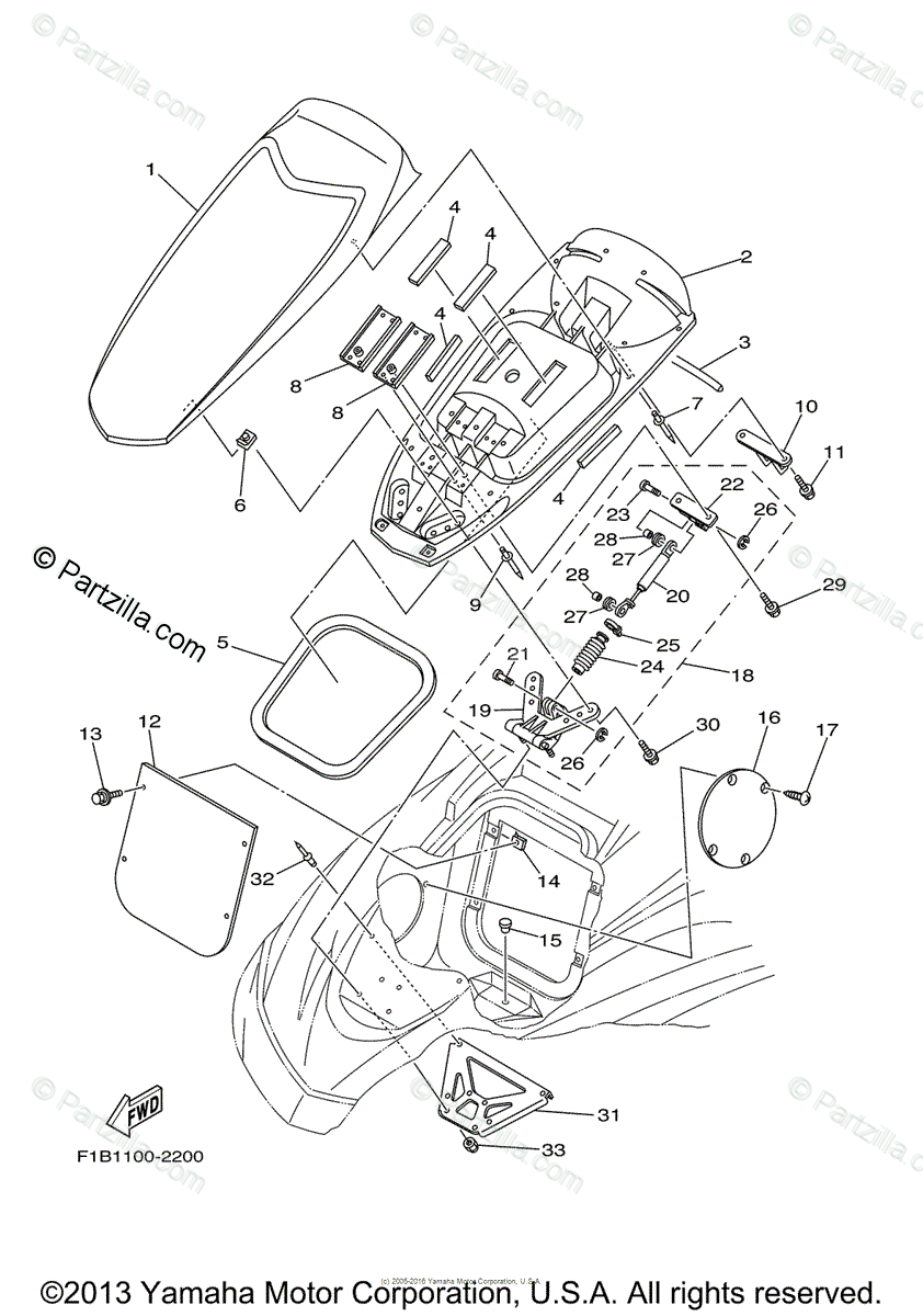 Yamaha Waverunner 2003 OEM Parts Diagram for Engine Hatch