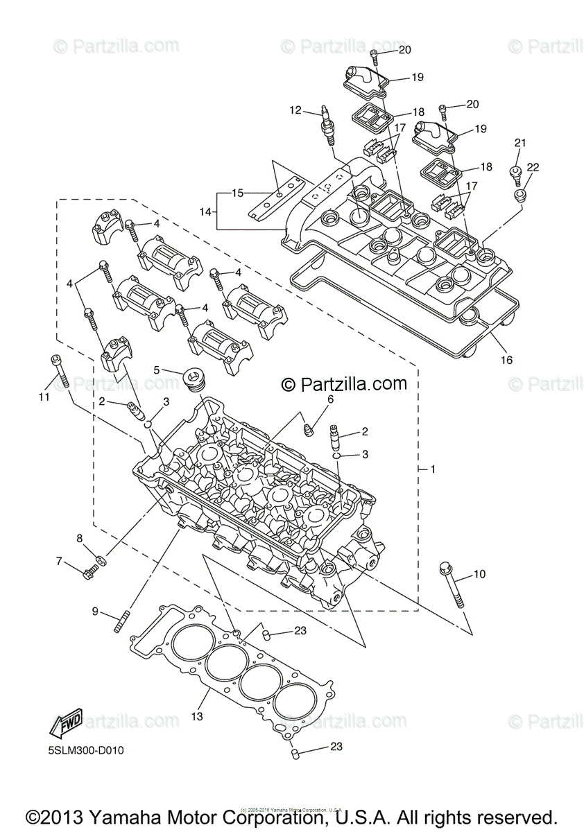 Yamaha Motorcycle 2005 OEM Parts Diagram for Cylinder