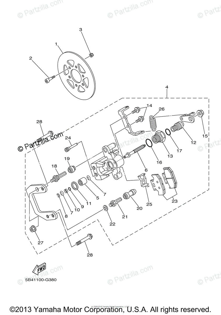 Yamaha Side by Side 2008 OEM Parts Diagram for Rear Brake