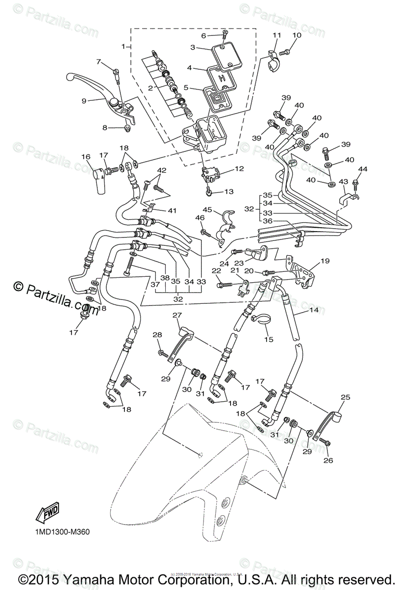 Yamaha Motorcycle 2015 OEM Parts Diagram for Front Master