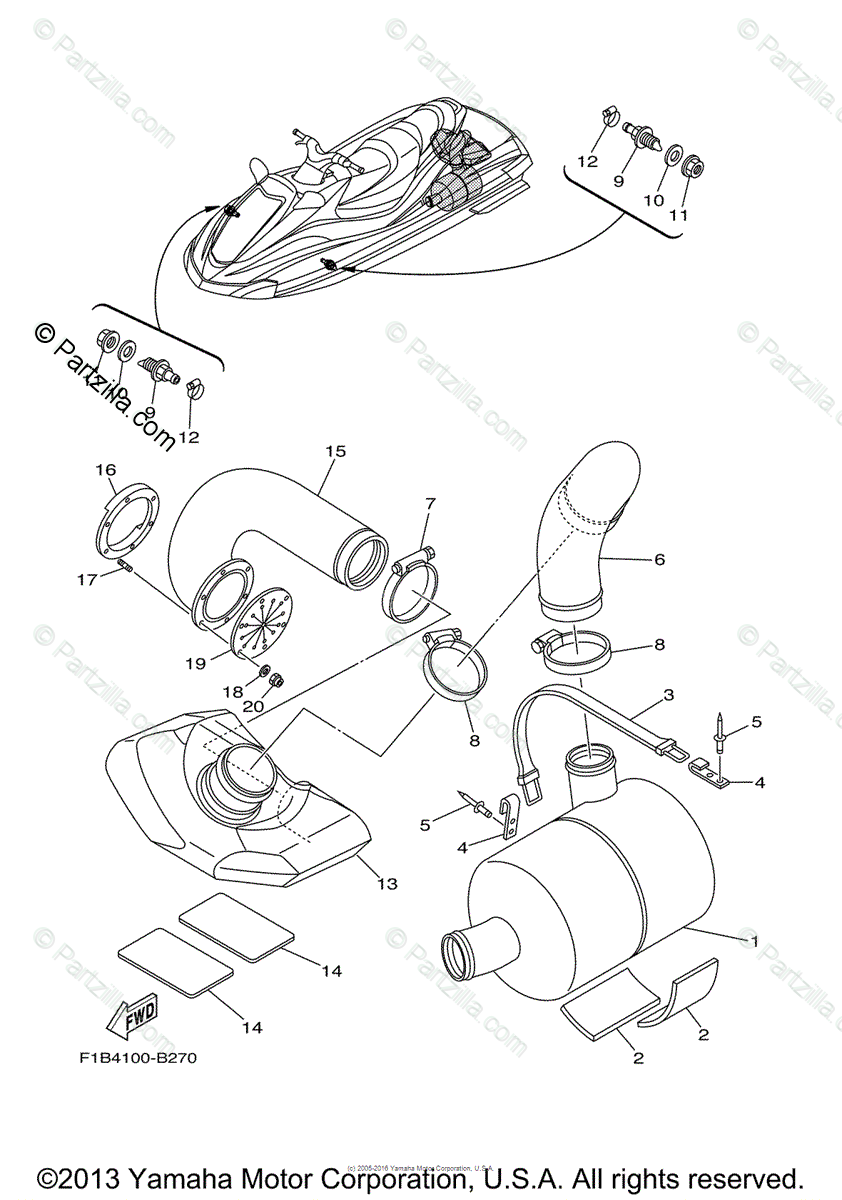 Yamaha Waverunner 2004 OEM Parts Diagram for Exhaust 3