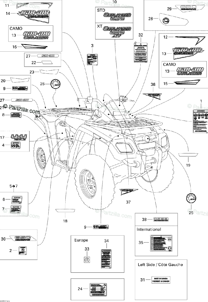 Can-Am ATV 2007 OEM Parts Diagram for Decals STD
