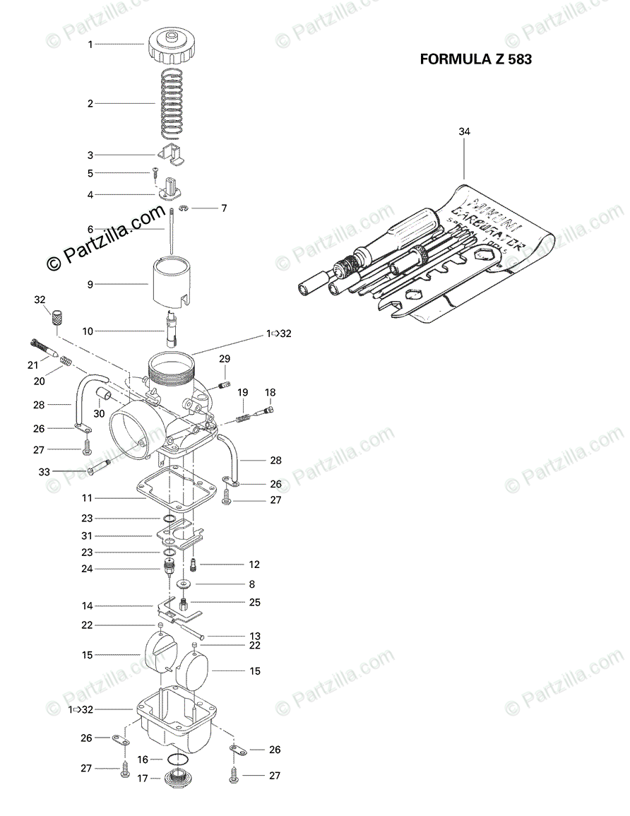 Ski-Doo 1998 FORMULA Z 583 OEM Parts Diagram for