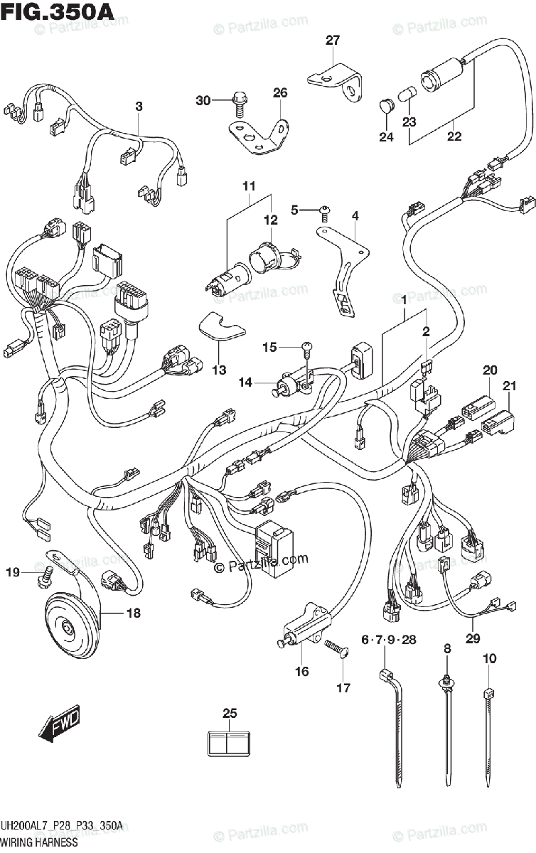 Suzuki Scooters 2017 OEM Parts Diagram for Wiring Harness