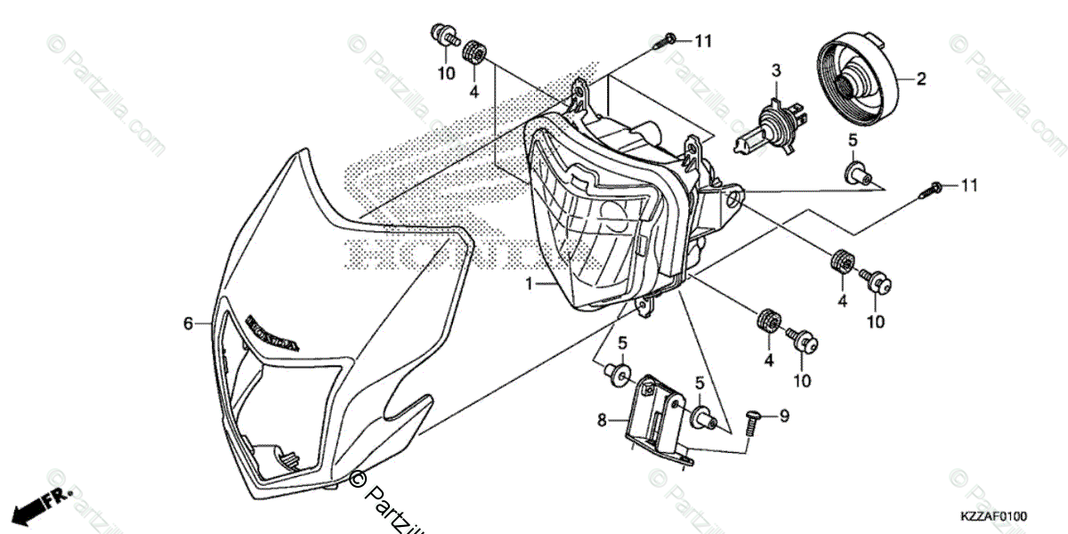 Honda Motorcycle 2018 OEM Parts Diagram for Headlight 1