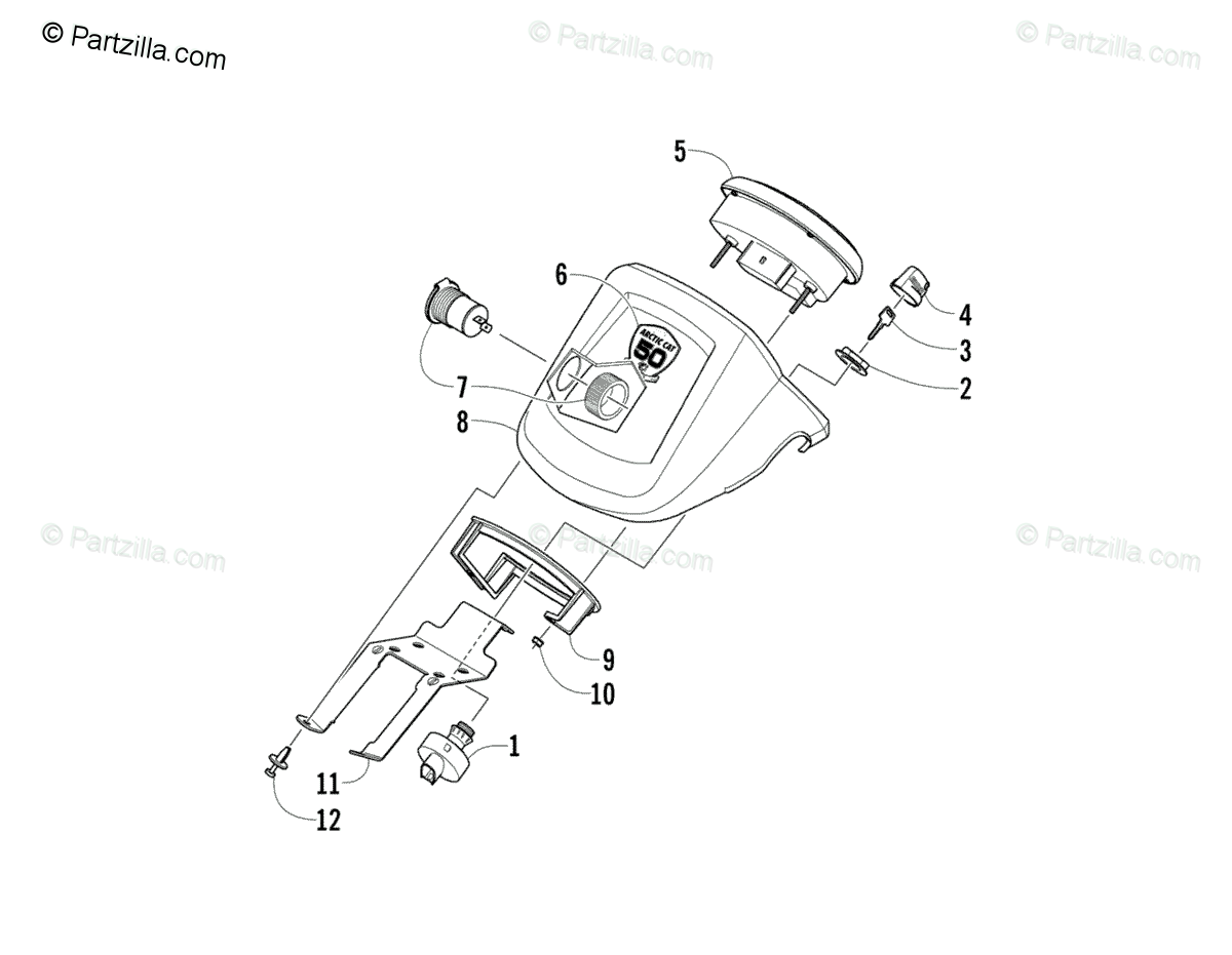Arctic Cat ATV 2012 OEM Parts Diagram for Instrument Pod