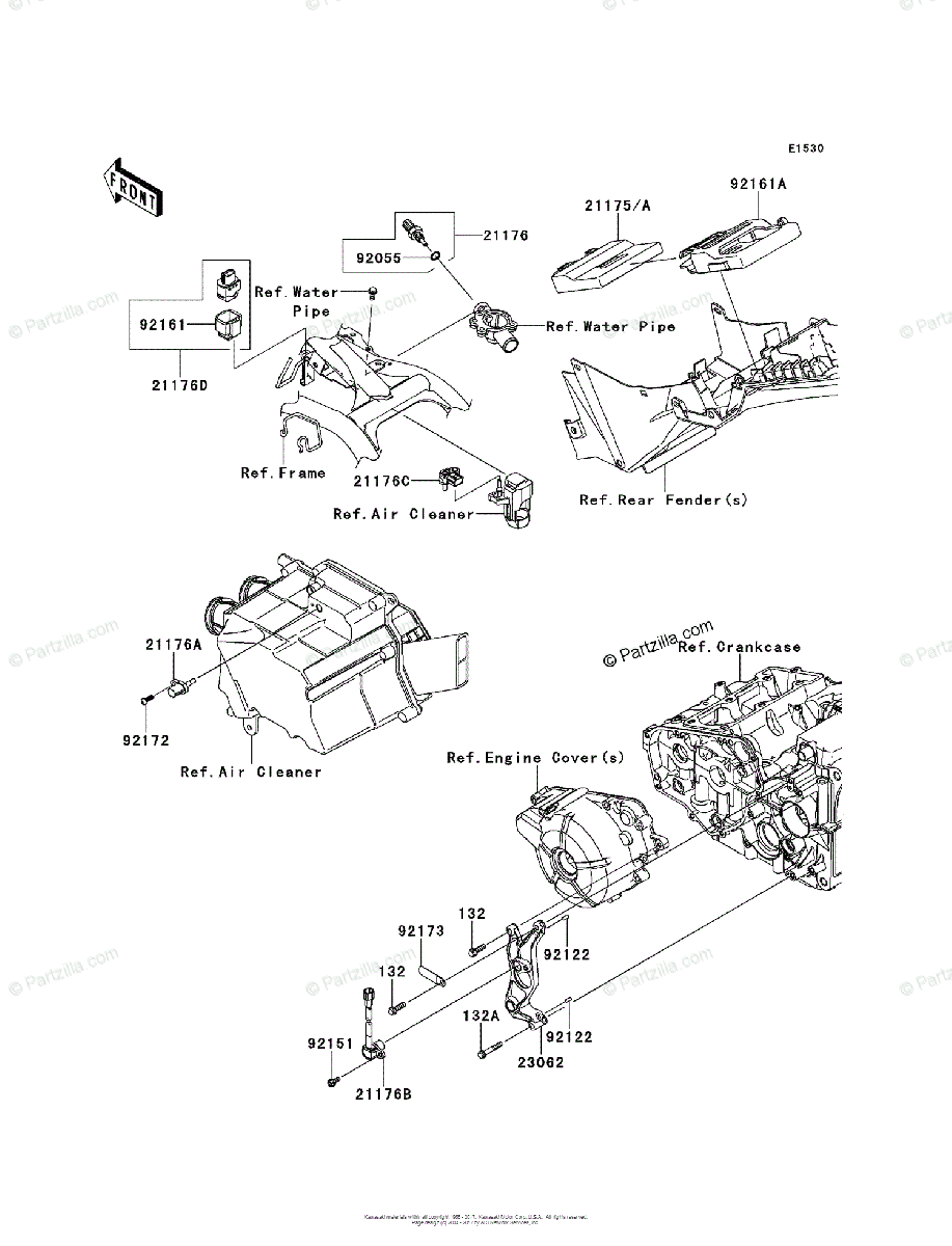 Kawasaki Motorcycle 2014 OEM Parts Diagram for Fuel