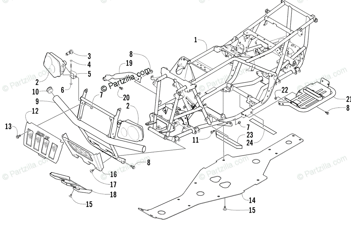Arctic Cat ATV 2003 OEM Parts Diagram for Frame And